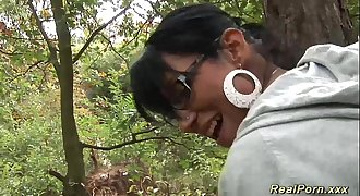 wild anal fuck in the wood