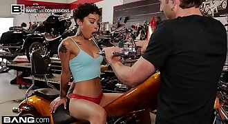 BANG Confessions: Honey Gold Quivers As She Cums On A Motorcycle